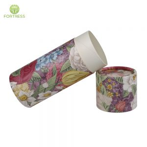 Colorful logo printing paper cylinder recycled box perfume packaging