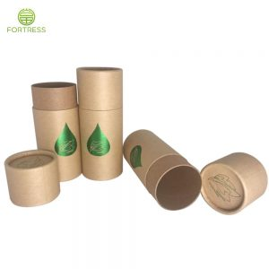 Fortress OEM design green hot foil kraft paper tube box for CBD products