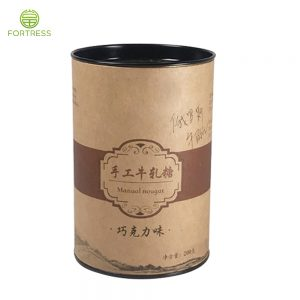 Snack Paper Tube Cans Packaging for Handmade Nougat Fudge Marshmallow Kraft Cylinder Tube with Metal Lid