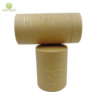 High Quality eco Friendly Kraft Round Cardboard Paper Tube Food Grade for Cake Packaging with Gold Logo