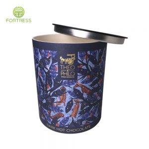 Wholesale Custom Single Tube Cardboard Cylinder Food Chocolate Packaging Canister Paper Tube with Metal Lids