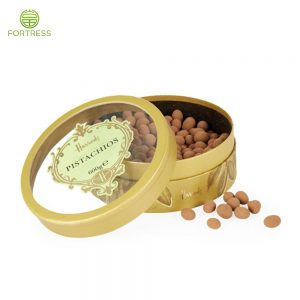 Full Color Printing Chocolate Flat Edged Paper Tubes with Transparent Window on Top Lid