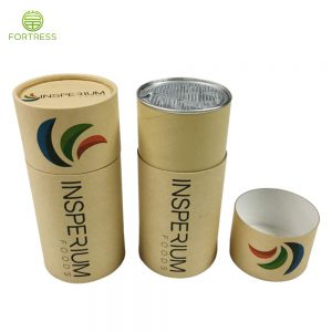 Custom Made eco Cardboard Biodegradable Kraft Paper Tube Packaging with Easy Tear Lids for Powder and Healthy Food